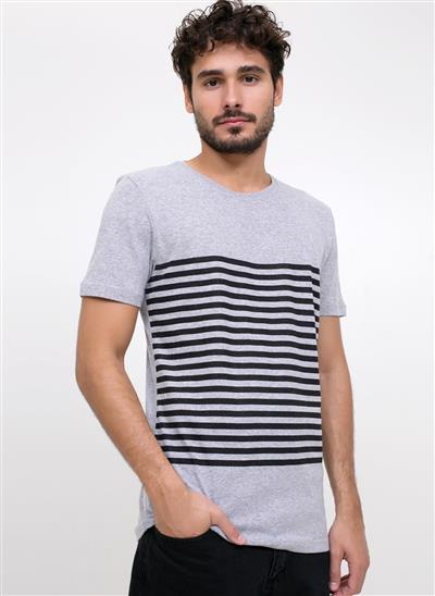 Camiseta Regular com Listras