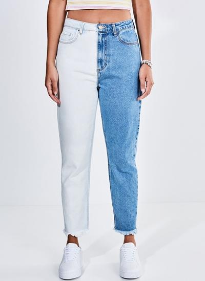 Calça Mom Jeans Bicolor