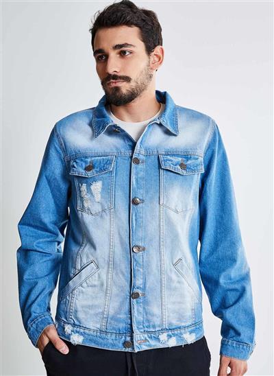 2eed45eaf6 Jaqueta em Jeans com Puídos - Moda Feminina e Masculina  Roupas ...