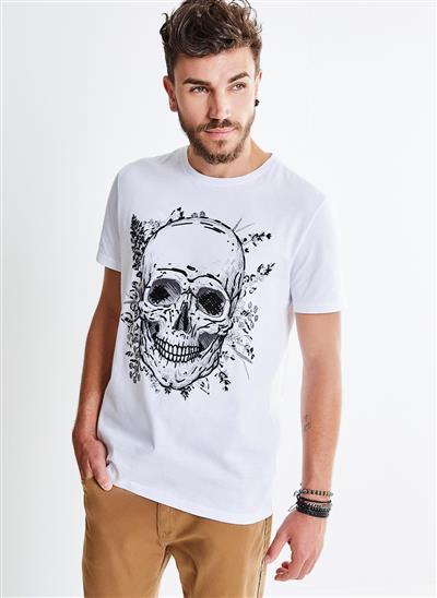Camiseta Estampa Caveira Flocada