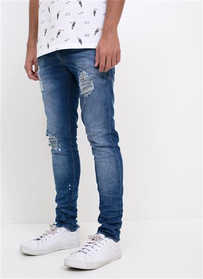 25d5a48cfde Calça Skinny em Jeans com Rasgos - Moda Feminina e Masculina  Roupas ...