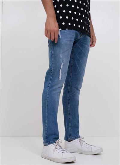 fc64ac6e80 Calça Skinny em Jeans com Puídos - Moda Feminina e Masculina  Roupas ...