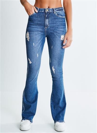 3f8a012b16 Calça Flare Jeans com Puídos - Moda Feminina e Masculina  Roupas ...