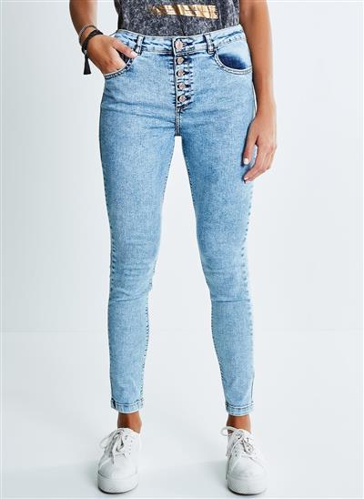1ed6bfb22a Calça Skinny Vintage com Botões - Moda Feminina e Masculina  Roupas ...