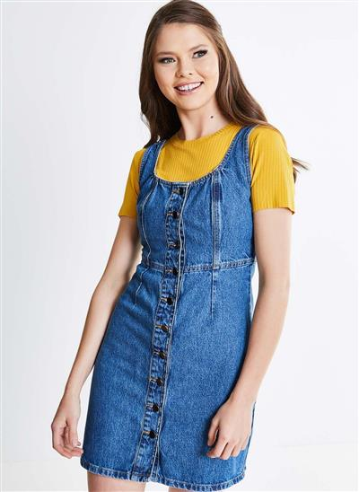 Vestido Em Jeans Com Botões E Recortes