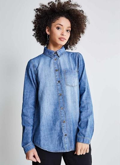 d7a5178a4d Camisa Jeans Básica - Moda Feminina e Masculina  Roupas